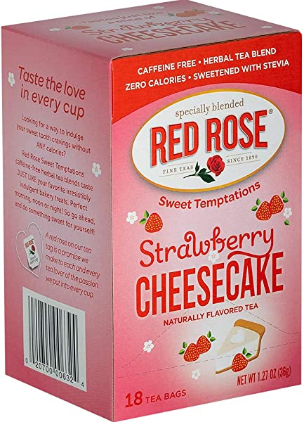 Red Rose Teas Sweet Temptations Tea 6 Boxes Of 18 108 Tea Bags Strawberry Cheesecake