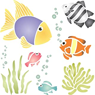 "TROPICAL FISH STENCIL (size 7""w x 7""h) Reusable Stencils for Painting - Best Quality Scrapbooking Wall Art Décor Ideas - Use on Walls, Floors, Fabrics, Glass, Wood, Posters, and More…"