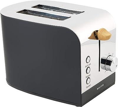 Salter Black EK3618BLACK Skandi 2-Slice Toaster| Wide Slots | Cancel, Reheat, Defrost Functions
