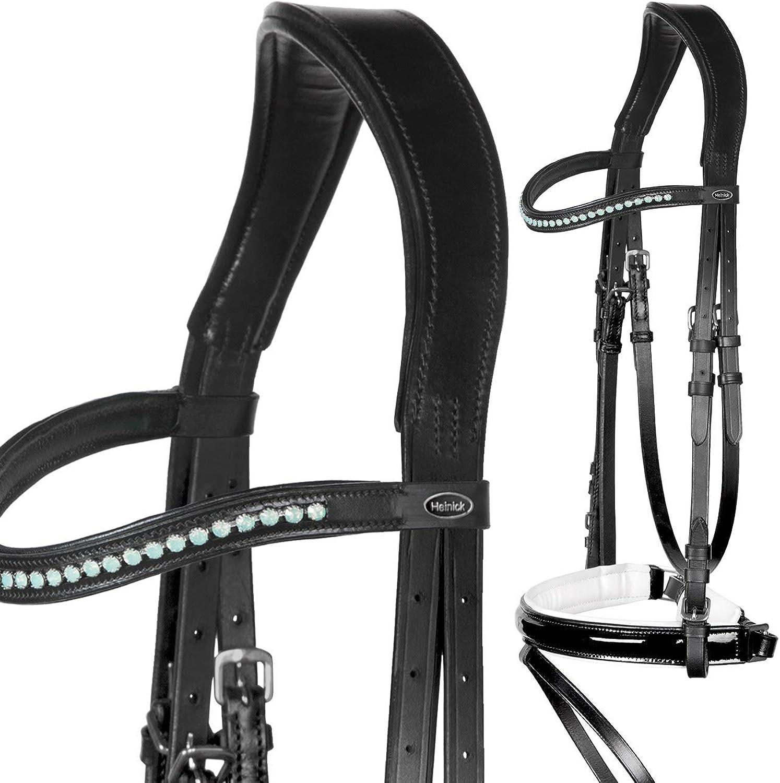 HeinickReitsport Elegant Bridle Patent Leather Shiny Black White  Mint  WB VB