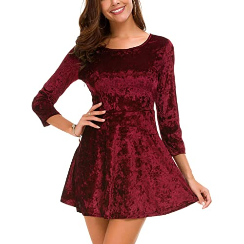 DGMYG Women s 3 4 Sleeve Round Velvet Skater Casual Swing Flared Short Mini  Dress 9b1fc8322