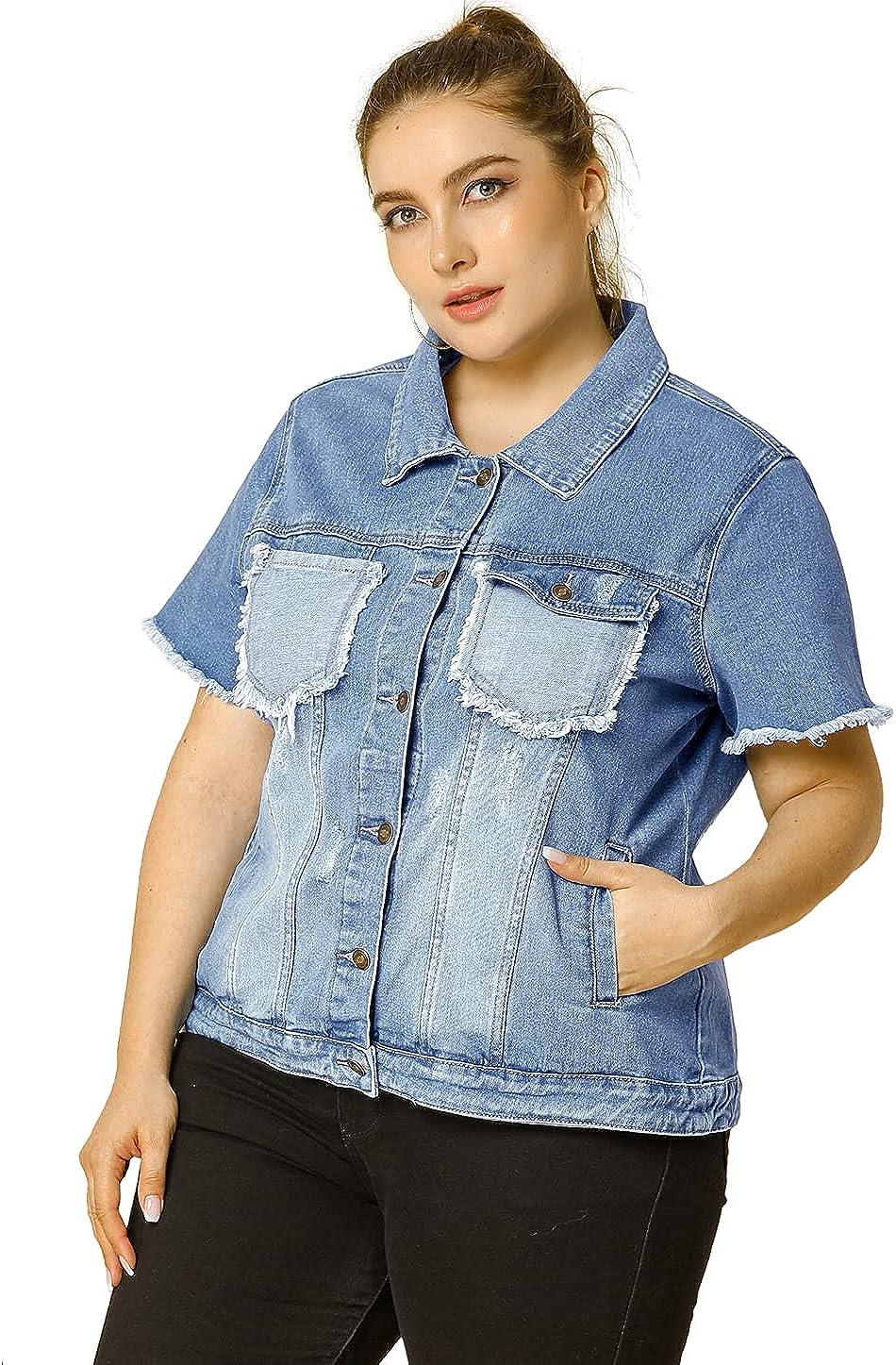 Agnes Orinda Women's Plus Size Jean Vest Short Sleeve Washed Frayed Denim Jacket with Chest Flap Pocket