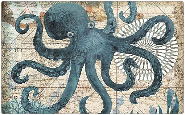 Octopus Door Mat Turquoise Ocean Starfish Mandala Flower Ancient Nautical Map Sailing Adventuredoor Mat Natural Coconut Non Slip Family Sweet Home Floor Entrance Door Mat Indoor Outdoor