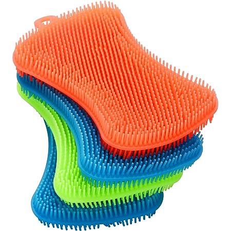 1x Silicone Sponge Dish Washing Brush Scrubber Food-Grade J3A8 E0U1