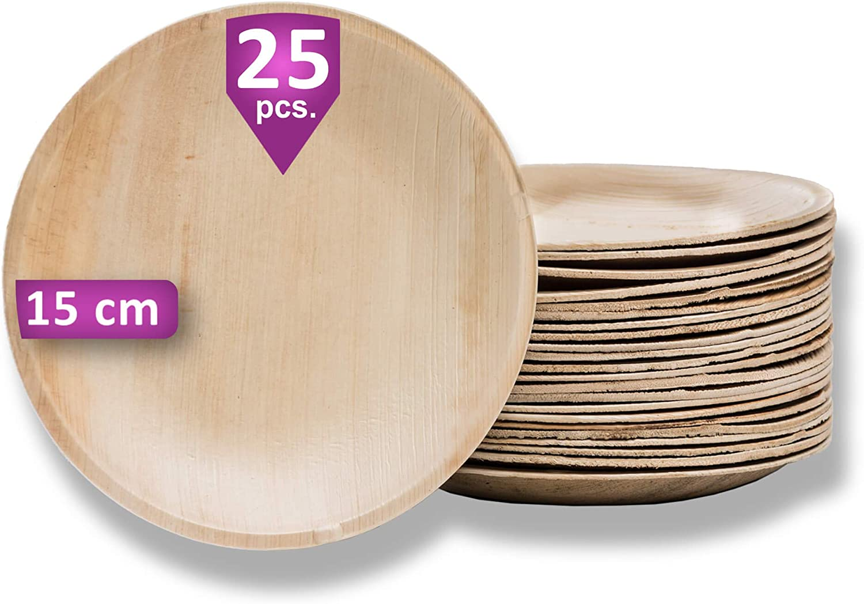 Waipur Platos Hoja de Palma Orgánicos - 25 Platos Desechables Redondos Ø 15 cm - Vajilla Ecológica de Lujo, Estable, Natural y Compostable - Platos Desechables Elegantes