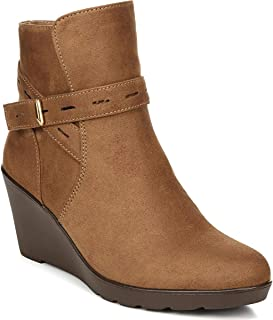 Naturalizer Womens Jill Faux Suede Ankle Wedge Boots Brown