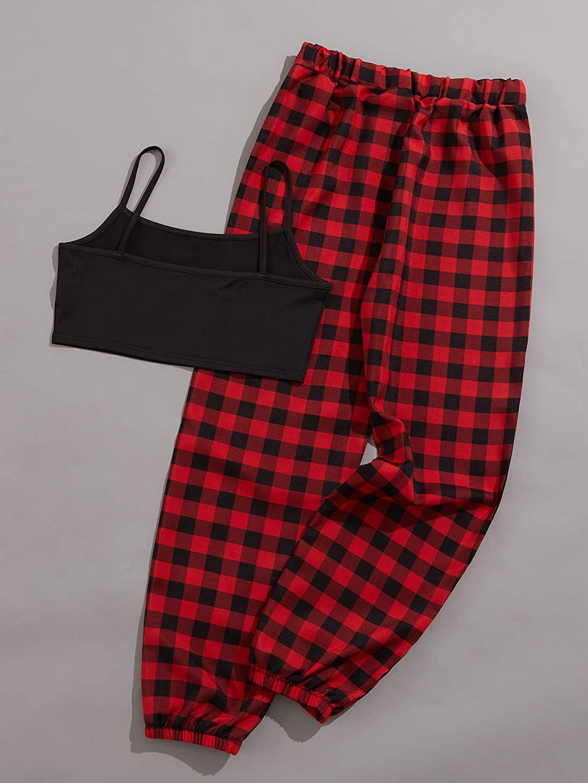 SheIn Women's Letter Plaid 2 Piece Crop Cami and Pants Pajama Set Sleepwear