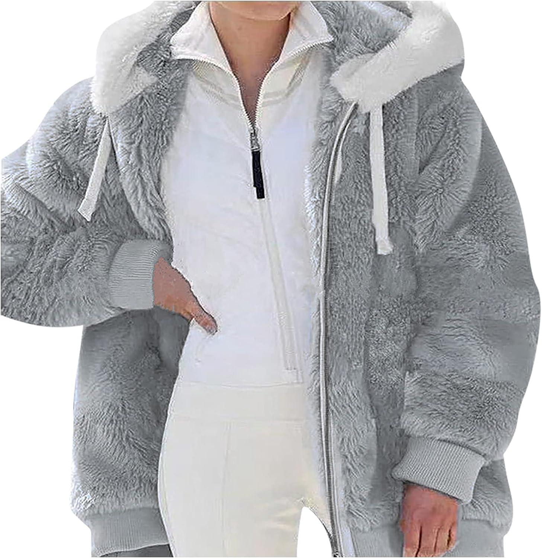 Uppada Winter Jackets for Women Oversized Fleece Fuzzy Warm Hoodie Coats Solid Color Boyfriend Zipper Outwear with Pockets