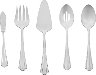 AmazonBasics 5-Piece Stainless Steel Serving Utensil Set with Scalloped Edge