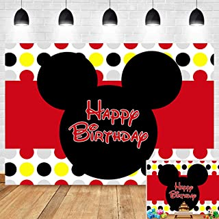 Colorful Dots Red Photography Backdrop for Children Happy 1st Birthday Decoration Photo Background Vinyl 7x5ft Cartoon Mouse Banner Baby Shower Party Supplies Cake Table Photo Booth Studio Props