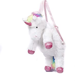 Plushland Fluffy Plush Rainbow Unicorn Backpack Stuffed Animal Toy 14 Inches Cuddly Autism ADHD Soft Magical Gifts Present Birthday Love School Pal Buddies Friendship