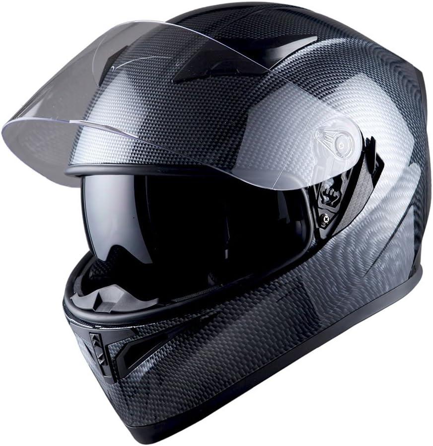 1STorm Motorcycle Street Bike Dual Visor/Sun Visor Full Face Helmet Mechanic Carbon Fiber Black, Size Small(53-54 cm,20.9/21.3 Inch)