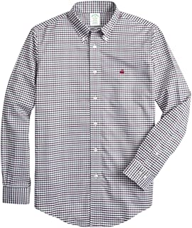 Brooks Brothers Men's Milano Fit Windowpane Sport Shirt Purple in size X-Large