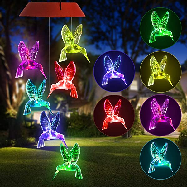 PATHONOR LED Hummingbird Solar Wind Chime Changing Color Solar Six Hummingbird Wind Chime Solar Mobile Wind Chime Outdoor Mobile Hanging Patio Light For Valentines Gift Home Party Hummingbird
