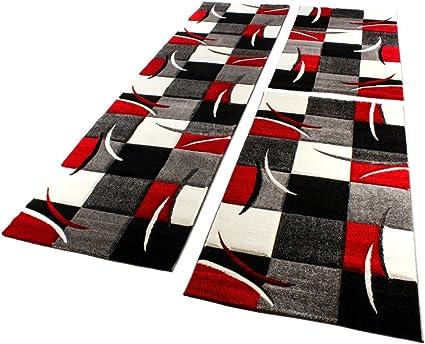 Bettumrandung Läufer Teppich Muster Modern Rot Schwarz Weiss Läuferset 3 Tlg.