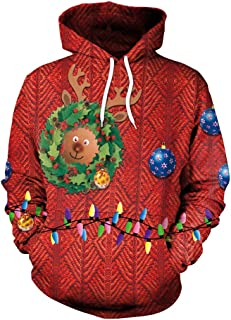 Unisex Funny Print Ugly Christmas Sweater Jumper Couple Pullover Christmas