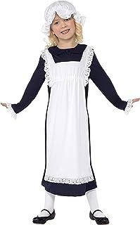 Smiffys-33714M Disfraz de Chica pobre Victoriana, Blanca, con Vestido con Delantal y Gorro de v, Color, M-Edad 7-9 años (Smiffy'S 33714M)