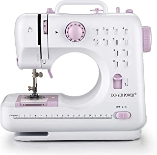 DONYER POWER Electric Sewing Machine Portable Mini with 12 Built-in Stitches, 2 Speeds Double Thread, Embroidery,Foot Peda...