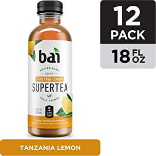 Bai Iced Tea, Tanzania Lemon, Antioxidant Infused Supertea, Crafted with Real Tea (Black Tea, White Tea), 18 Fluid Ounce Bottles, 12 count