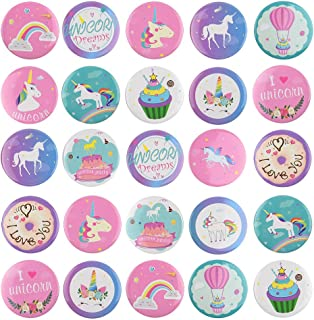TUPARKA 30 Pezzi Unicorn Pins Bottoni Arcobaleno Distintivi Pin Backs per Gli Abiti Borse Zaini, Festa di Compleanno Bombo...