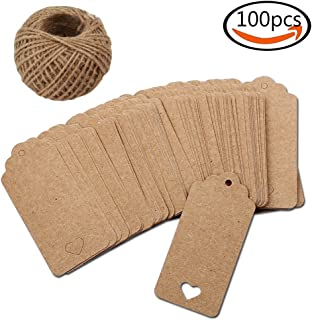 100 Sheets  Rectangle  Craft tag  Price tag  (Size: 45 mm × 95 mm) Brown Brown  with Thread with Thread Free Lug...