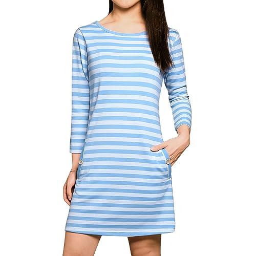 3f556d34739b Allegra K Women's Stripes 3/4 Sleeves Scoop Neck Slant Pockets Mini T-Shirt