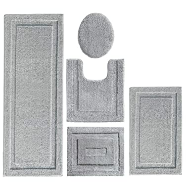 mDesign Soft Microfiber Polyester Bathroom Spa Rug Set - Water Absorbent, Machine Washable, Plush, Non-Slip - Includes 3 Rectangular Accent Rugs, Contour Mat, Toilet Lid Cover - Set of 5 - Gray