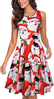 Women's Sleeveless Tank Flare Swing Cocktail Dress with Pockets