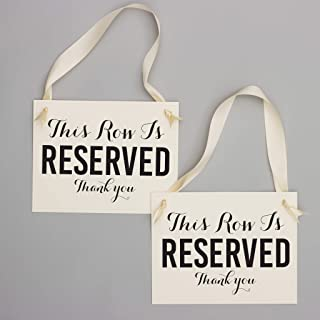 Reserved Row Signs Set of 2 Wedding Chair Seat Banners | This Row Is Reserved, Thank You | Ceremony Aisle Signage Black & Ivory