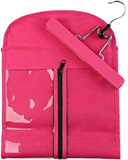 Portable Hair Extensions Hanger + Dust-proof Protection Non-woven Carrier Zipper Suit Case Bag Package for Hair Extensions Storage (Rose Red)