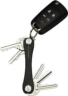 چرم KeySmart - نگهدارنده کلید فشرده و سازمان دهنده Keychain پاکت پی سی (حداکثر 10 کلید ، سیاه)