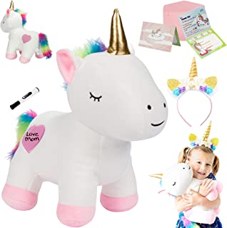 """PixieCrush Unicorn Gift Set – Includes Headband, 13"""" Soft Unicorn Stuffed Animal with Writeable Heart - Gift Packaged for Graduation, Birthday, Valentines Gift for Girls"""