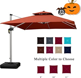 PURPLE LEAF 10 Feet Double Top Deluxe Square Patio Umbrella Offset Hanging Umbrella Cantilever Umbrella Outdoor Market Umbrella Garden Umbrella, Brick Red