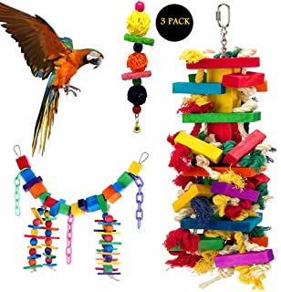 Mrli Pet Bird Knots N Blocks Chew Toys for Large Parrot, Macaw Toys,Bird Swing Toys with Bells, Chew Toys with Colorful Loofah Balls, Parrot Cage Toys Set (3 Pack)