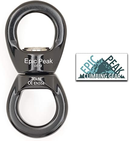 Pro 30KN Rope Swivel Connector Full Bearings for Rock Climbing Aerial Dance Yoga