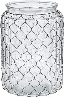 Glass Chicken Wire Vase Wide-Mouth - 7 1/2