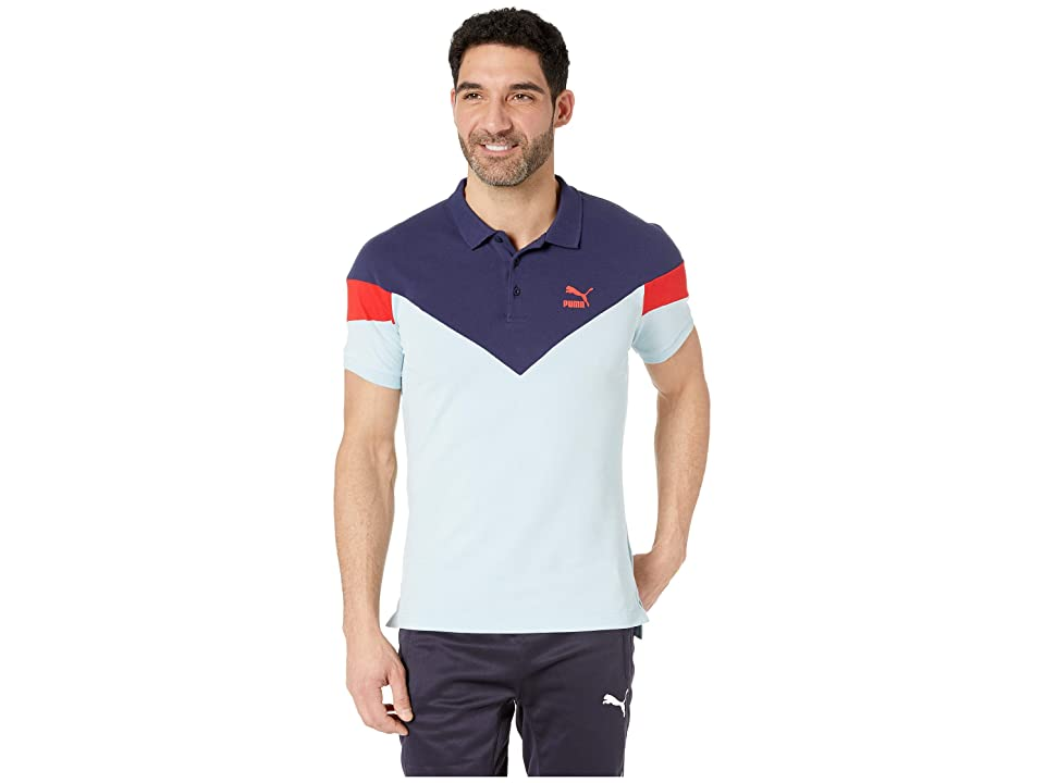 PUMA Iconic MCS Polo (Light Sky) Men's Short Sleeve Pullover, Blue