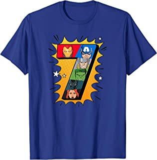 Marvel Avengers Comic Super Heroes 7th Birthday T-Shirt