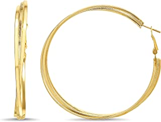 Steve Madden 70mm Plain Textured Triple Twist Hoop Earrings for Women (Yellow)