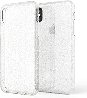NALIA Glitter Case Compatible with iPhone X/XS,  Ultra-Thin Shiny Protective Silicone Back-Cover Rubber Skin,  Sparkle Shock-Proof Soft Slim Bumper Smartphone Protector,  Color:Transparent