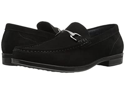 Stacy Adams Newcomb Moc Toe Penny Loafer (Black Suede) Men