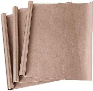 Lot de 3 feuilles de cuisson en téflon de qualité supérieure - 40 x 60 cm - Réutilisables - Résistant à la chaleur - Antia...
