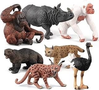 Fantarea Simulation Realistic Wild Life Jungle Animal Figures Model Orangutan Crocodile Ostrich Imitation Desktop Ornament Collection Party Playset Favors Toys for 5 Years Boys Girls(7 pcs )