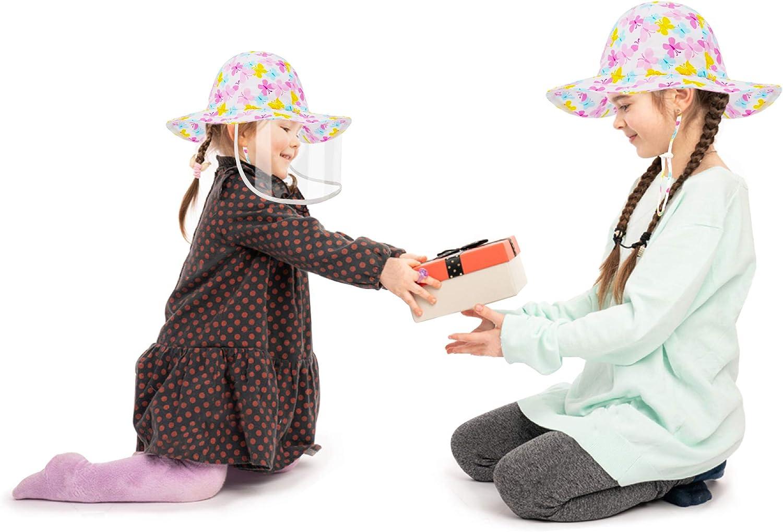Dream Bridge Cappello Protettivo per Bambini con Visiera Staccabile di Sicurezza Trasparente per la Protezione della Saliva Anti UV Protezione Solare Antipolvere per Ragazzi e Ragazze