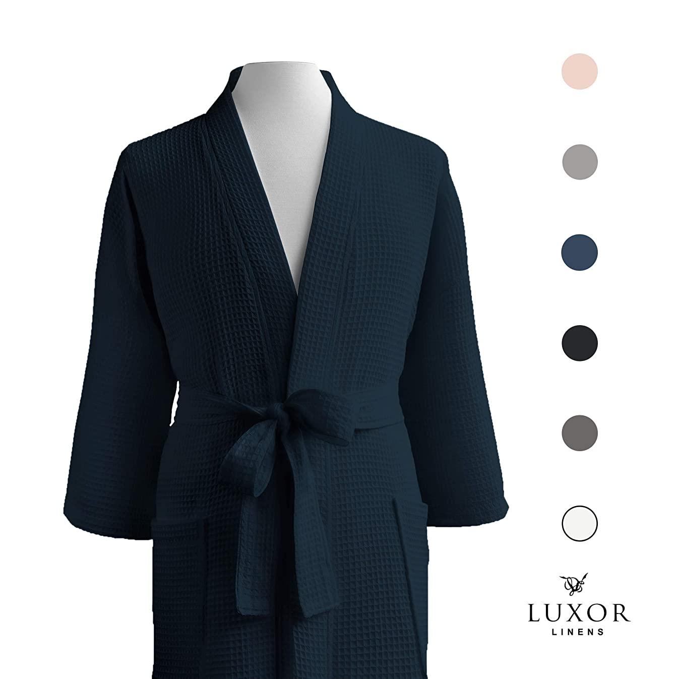 Luxor Linens LUXA House - Waffle Bathrobe - 100% Egyptian Cotton - Unisex/One Size Fits Most - Navy - One Size Fits Most