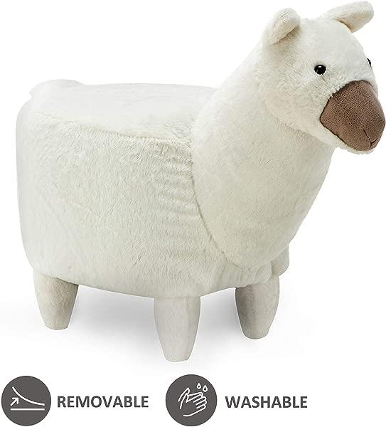 JOYBASE Washable Animal Ottoman Kids Footrest Stool Soft Plush Ride On Seat Gift For Children And Adults Alpaca White