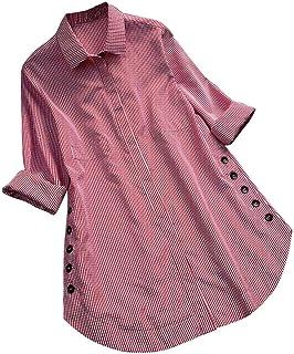comprar comparacion Blusa de Mujer Sexy Covermason Camisa de Manga Larga de Las Mujeres del botón del Enrejado de la Camisa de Las Tapas Ocasi...