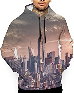 New York City Illustration 3D All Printed Men's Hooded Pullover with Pocket Casual Hoodies Sweatshirt