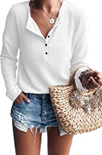 Womens Tops Short Sleeve V Neck Button Up Loose Waffle...