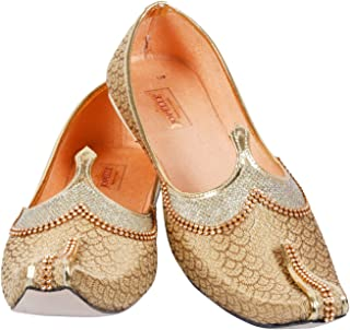 JOPELLE Men's Handmade Synthetic Golden Wedding & Sherwani Juttis Jutti/Ethnic/Treditional wear Juttis